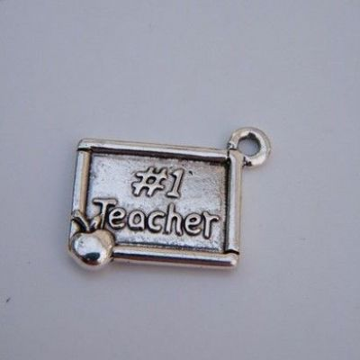 Number 1 Teacher Wine Glass Charm - Hoop Style